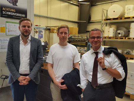 Wirtschaftsminister Albrecht Gerber trifft Benjamin Eib und Ivo Lambrecht