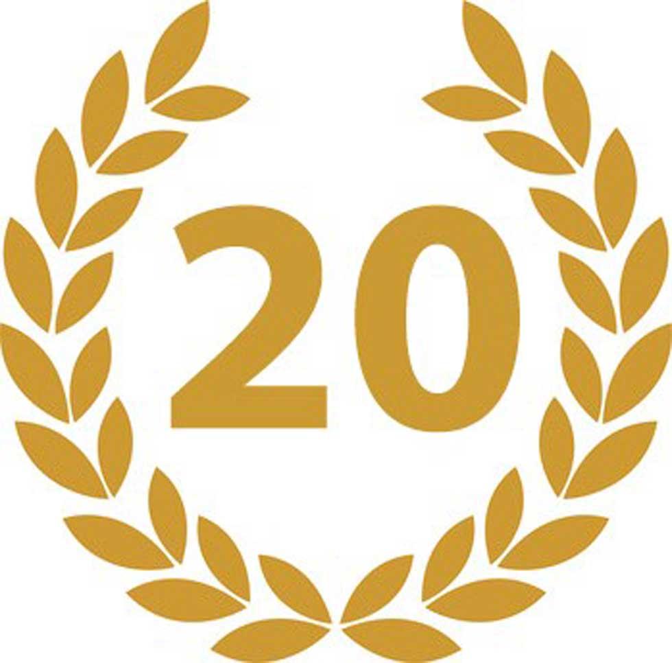 Jubiläumskranz mit einer 20 für das Jubiläum der Märkische Etiketten GmbH