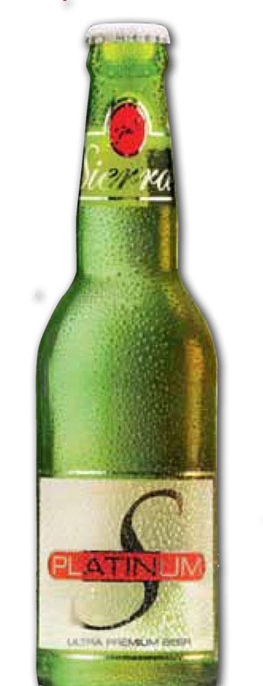 Bierflasche der Marke Siera mit dekorativem Etikett für den Weltmarkt