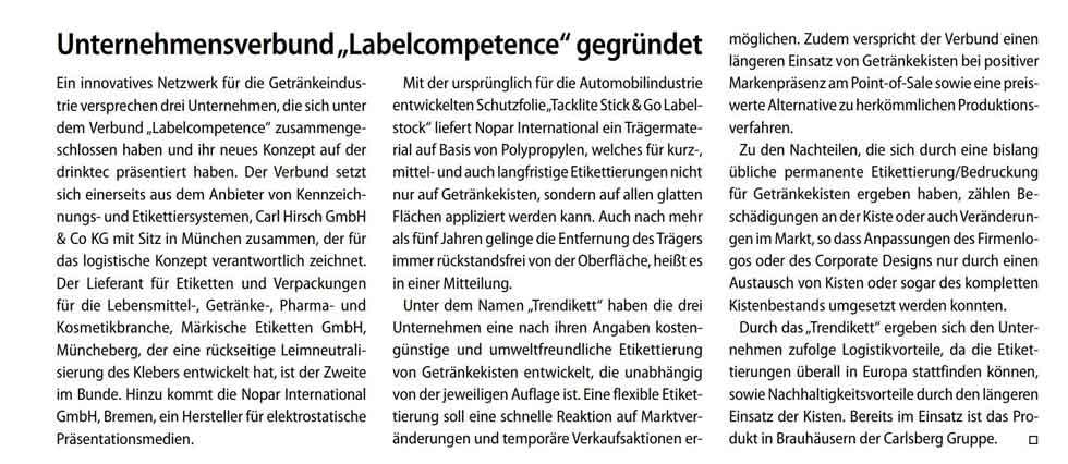 Artikel zur labelcompetence im Branchenmagazin EUWID