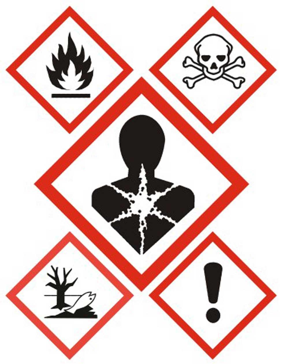 GHS Gefahrstoffsymbole - Schwarze Piktogramm in rotem Rahmen