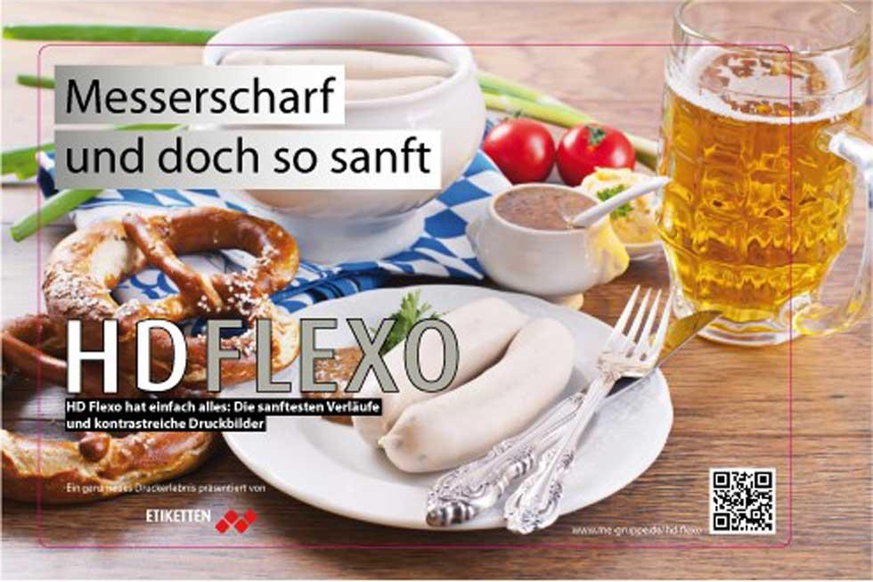 Etikett mit gedecktem Tisch on feinster Auflösung und gestochen scharf, aufgrund von HD-FLexo.