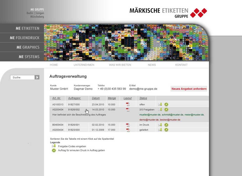 Einblick in das Interface des Kundenwebportals