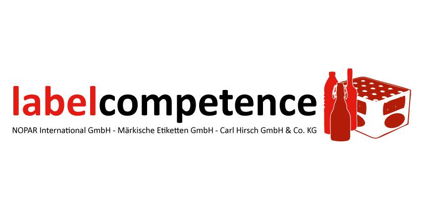 Logo der labelcompetence mit Bierflaschen und Bierkästen