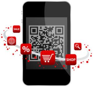 Mobiltelefon mit QR-Code und symbolisieren Möglichkeiten