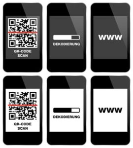 Mobiltelefone mit QR-Code und der Anwendungsdidaktik.