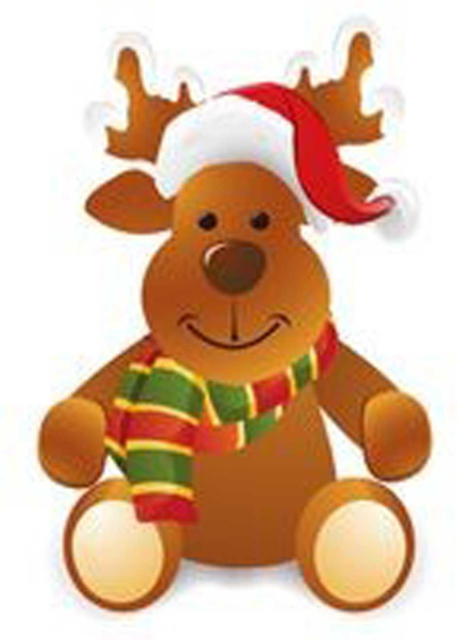 Rentier mit Weihnachtsmütze für einen Weihnachtsgruß
