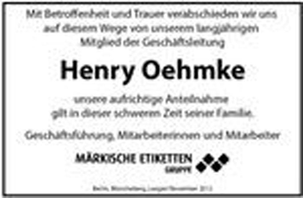 Traueranzeige für das ehemalige Mitglied der Geschäftsleitung Herr Henry Oehmke