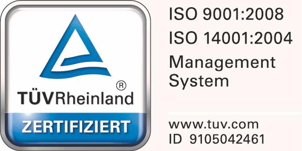 Logo des TÜV Rheinland mit der ISO 9001 und ISO 14001 Zertifizierung